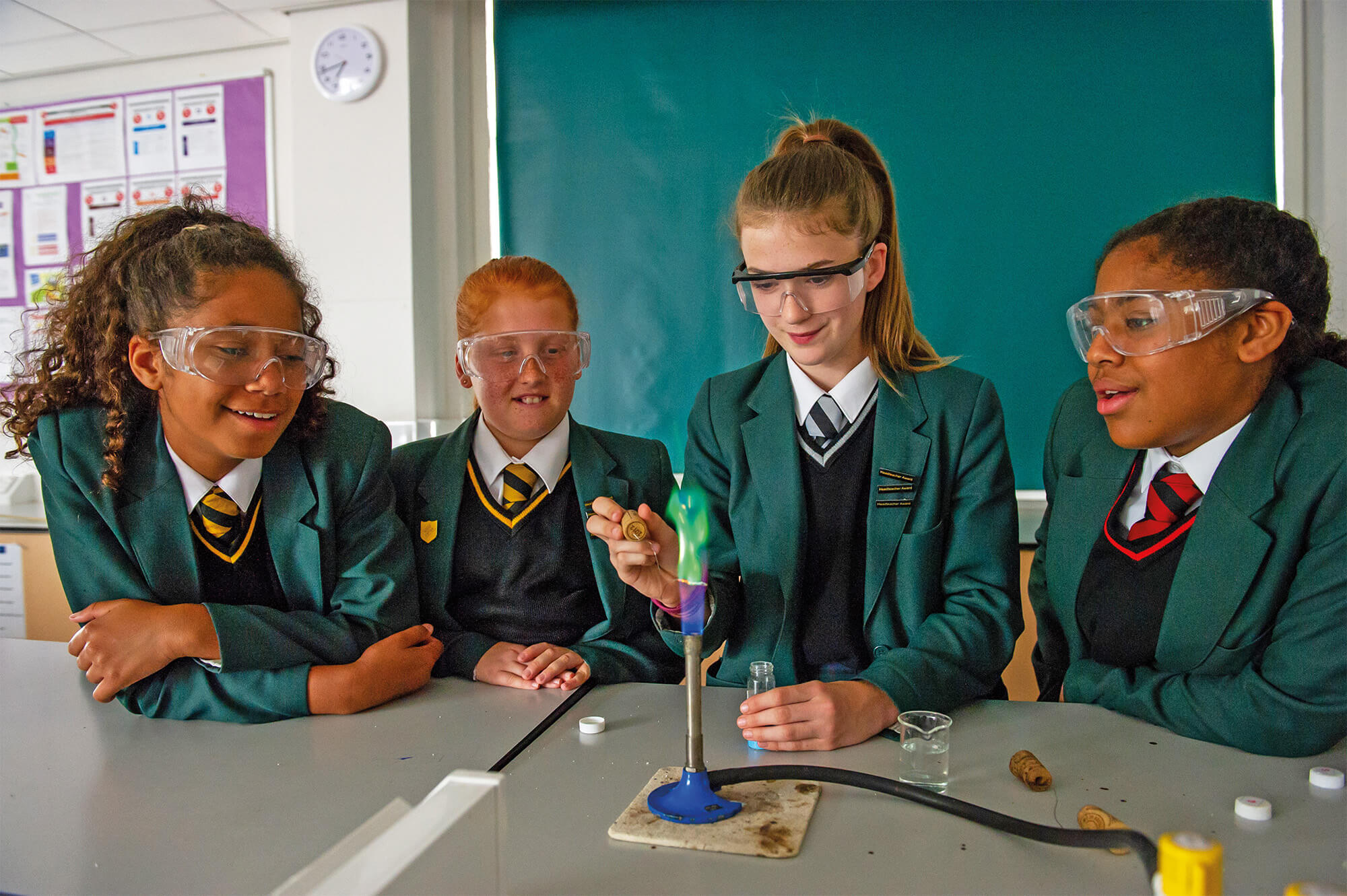 Students working on an Experiment in a Lord Grey Academy Science Lesson