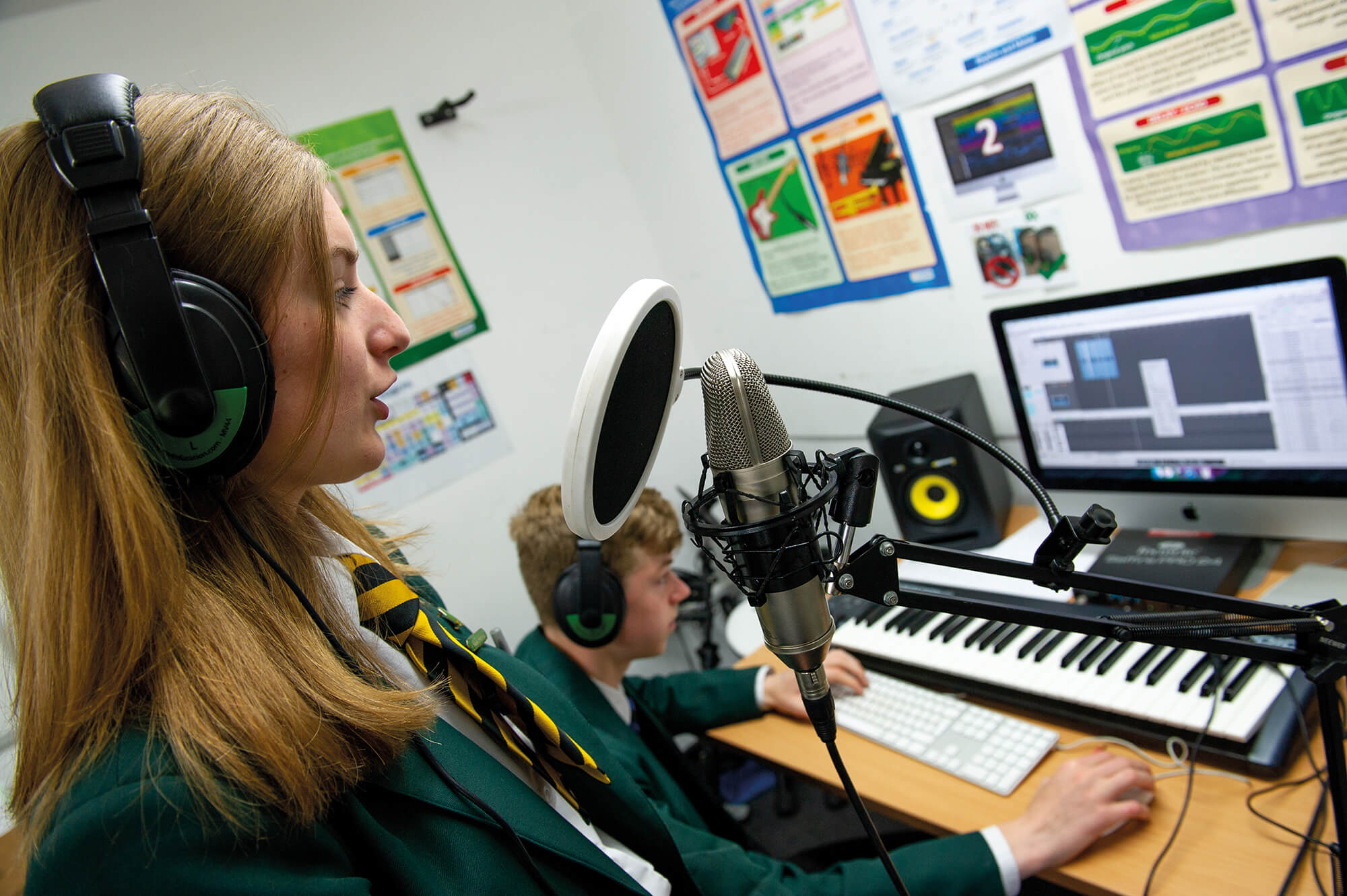 Students in the Recording Studio at Lord Grey Academy
