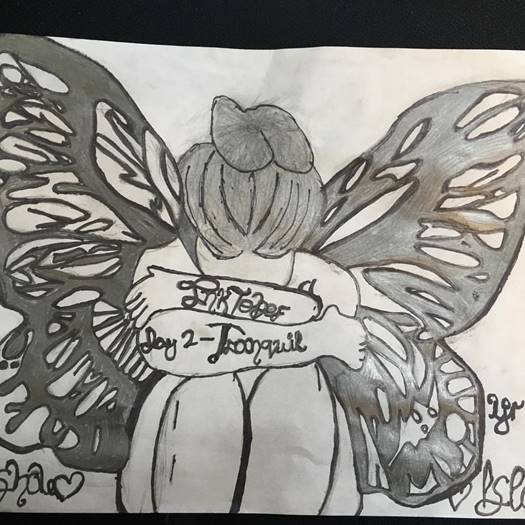 Drawing of a fairy from the Students and staff participation in the 2018 'Inktober'
