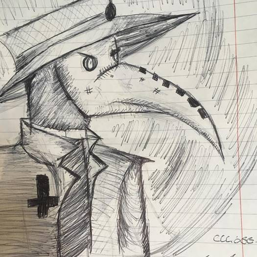 Drawing of a Plague Doctor from the Students and staff participation in the 2018 'Inktober'