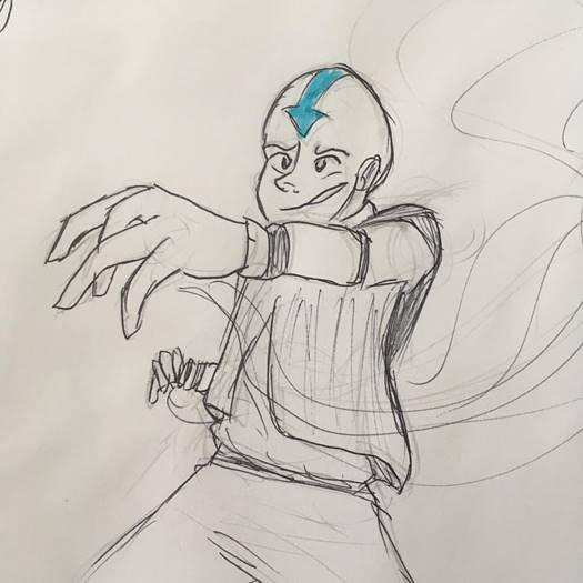 Drawing of Aang from Avatar the Last Airbender from the Students and staff participation in the 2018 'Inktober'